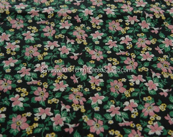 Adorable Bubblegum Pink Floral - Vintage Fabric 35 inches wide 40s 50s New Old Stock