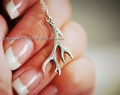 Deer Antler Necklace - Small Solid Sterling Silver Pendant Charm - Insurance Included