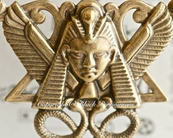 The Pharaoh Necklace - Made in USA stamping - Brass Ox - Free Domestic Shipping