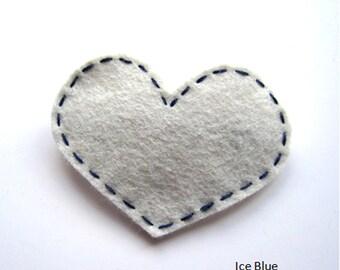 Handmade Felt Love Heart Hair Slide - assorted colours 1
