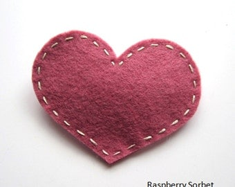 Handmade Felt Love Heart Hair Slide - assorted colours 2