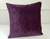 18 inch purple accent pillow cover, velvet chenille cushion cover