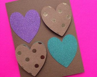 Congratulations Card for Engagement or Wedding with four Purple & Green Glitter Hearts and Two Polka Dots Hearts