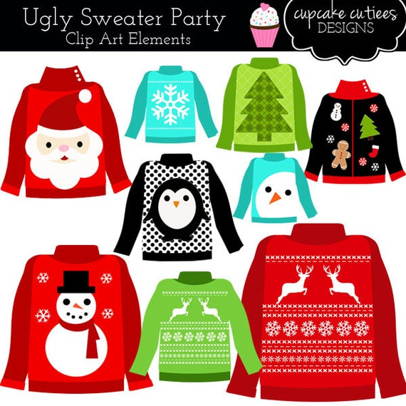 Ugly sweaters christmas holiday party element clip art digital