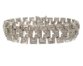 Art Deco Vintage Baguette Bracelet, 1920s Rhinestone Cuff, Art Deco Jewelry Wedding Bracelet