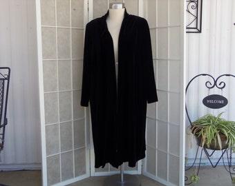 Vintage 1980's Another Thyme Long Black Velvet Coat