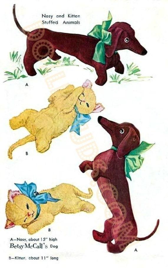Vintage Betsy McCalls 1953 Nosy Dog and Stuffed Kitten Animal Pattern 1810