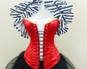 """Red Lace Up Front Overbust Corset-to fit 23-26"""" natural waist"""