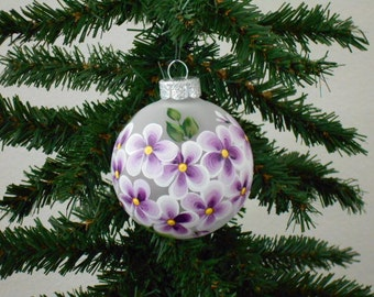 Hand Painted Glass Ornament with Purple Flowers