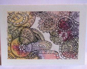It's a Doodle Watercolor Pen and Ink Card!