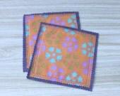 Coasters Mug Rugs set of 2 Purple Orange Reclaimed Fabric