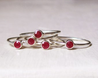 Tiny Ruby Stacking Ring - Natural Ruby - Red Gemstone - July Birthstone -  Tube Set - Bezel Set - Thin - Sterling Silver
