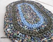 Earth and sky crocheted oval shape rag rug, eco friendly, washable, bath mat, durable, olive, sky blue, girls bedroom, kitchen, home decor