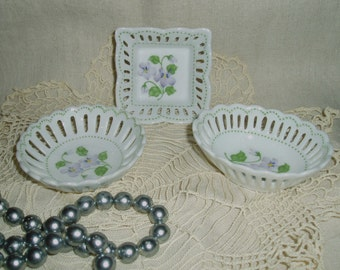 Set of 3 Porcelain Trinket Dishes, Oval, Round & Square Pin Dishes, Ring Tray with Floral Bouquet Designs, Ladies Vanity Jewelry Holder