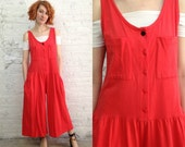 vintage 80s red sleeveless wide legged jumpsuit / palazzo pants tank top romper