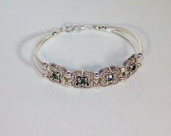 Swarovski Aquamarine Crystal Bracelet - Birthstone, Bridal - Ships WIthin 24 Hrs