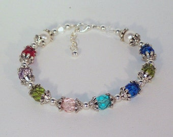 Swarovski Pearl and Crystal Jewelry - Stacking Bracelet - Mother or Grandmother Bragging Bracelet - Ships within 24 hrs