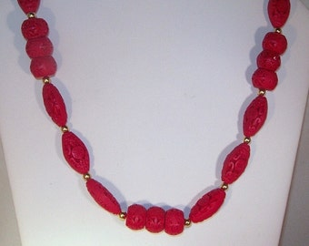 Carved Red Cinnabar - Necklace only