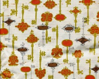 "Vintage Silk Fabric Skeleton Keys in Orange Gold Brown on Beige Background 36"" Wide 4 Yards Autumn Colors"