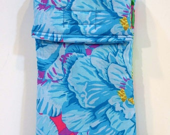 Cell Phone Case, Blue Flower gadget pouch, glasses case, floral, velcro pouch