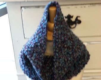 Beautiful Hand made Knit Cowl in Blues & Purples
