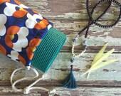 Handmade Yoga Mat Bag >> Drawstring >> Retro Flowers