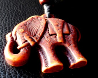Cherokee Carved & Stained Elephant Totem on Leather Adjustable 16 to 24 inch!!! Lucky to wear!!!!!