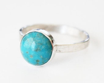 Round Turquoise Ring - Sterling Silver Turquoise Ring 10mm - Silver and Turquiose - Custom Stones and Colors Available - 925