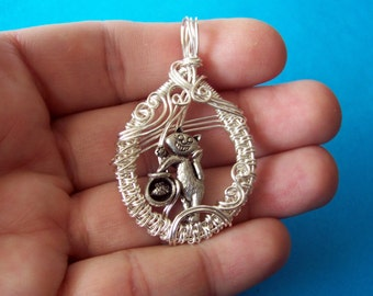 Wire Wrap Kitty Necklace, Wire Wrap Kitty Cat Necklace, Wire Wrap Cat Necklace, Wire Cat Necklace, Wire Kitty Necklace