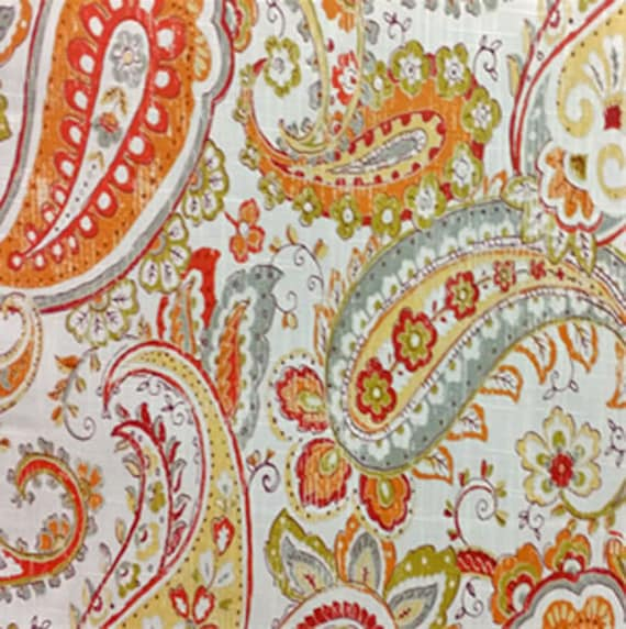 Orange Paisley Curtains Modern Paisley Window Curtains