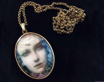 Chiaroscuro Art Locket with Solid Natural Perfume, Jasmine Nature Girl, Victorian Inspired by Greg Spalenka, Travel Scent Jewelry Accessory
