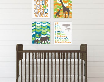 Safari Nursery Decor, Elephant Nursery Art Print, Chevron Nursery Art, Gender Neutral  Nursery, Art Print or Canvas // N-G42-4PS AA1 03P