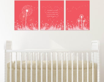 Dandelion Wishes, Coral Nursery Decor, Girl Bedroom, Wall Art // Custom match colors to a room // ArtPrint or Canvas // N-G30-3PS AA1 03S
