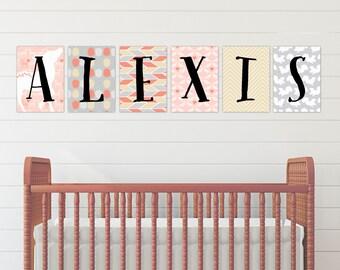 Baby Girl Name Letters, Animal Wall Art, Woodland Nursery Decor, Baby Girl Nursery, Gift for Newborn // Style-U PRINT // N-P12 AA2