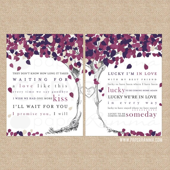 Jason Mraz Wedding Songs: Lyric Tree Art Jason Mraz Colbie Caillat Lucky