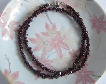 Red Garnet Necklace, Gemstone Magnet Clasp Choker String Necklace, January Birthstone