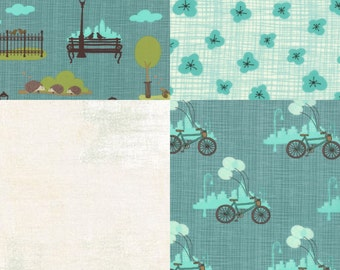 4 Piece Fat Quarter Set by Kate & Birdie from the Bluebird Park Collection