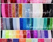 Choose 2 Glitter Elastic Headbands Interchangeable 5/8 inch Stretch Baby to Adult Sizes 70 Sparkly Colors Neon Jewel Tones Pastel Book Bands