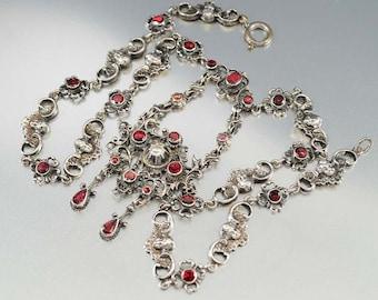 Garnet Necklace, Victorian Austro Hungarian Necklace, Silver Pearl Cherub Necklace Antique Jewelry