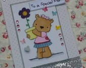 To a Special Mom - Handmade blank greeting card with sweet bear for Mother's Day