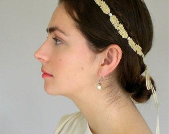 Gold Leaf Crown, Gold Headband, Gatsby Headband, Art Deco Headband, Gold Wedding Headband, Leaf Headband,  Gold Bridal Headband, Gold Leaf