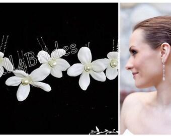White stephanotis bridal hair flowers, set of six flower hair pins