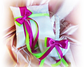 Neon green and azalea wedding ring bearer pillow and flower girl basket.