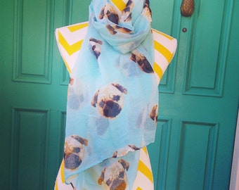 Pug Scarf, Pug Scarf, lightweight Summer Scarf, Mothers Day Gift, Dog Scarf, trendy scarf, Pug Accessories