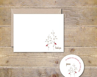 Thank You Cards . Thank You Notes . Thank You Card Set, Wedding, Bridal Shower - Our Winter Home
