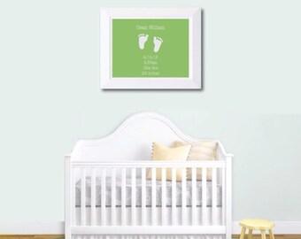 Nursery Wall Art, Baby Print, Wall Art, New Baby Print, Baby Announcement, Nursery Print, Nursery Wall Art - Little Feet