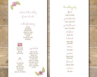 Wedding Programs, Wedding Program, Order of Service Card, Order Of Service, Watercolor, Floral- Watercolor