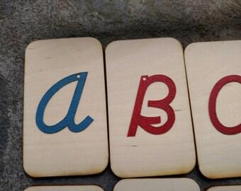 Mini uppercase cursive Sandpaper letters