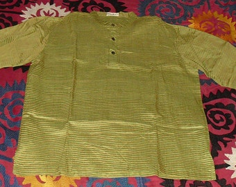 Vintage Never Worn Indian Tunic Hand Loomed Silk in Chartreuse and Gold Stripes L/XL