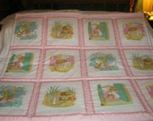 Baby Peter Rabbit And Beatrix Potter 1985 Rare Baby/Toddler Quilt-NEWLY MADE 2016
